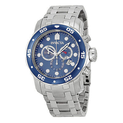 Invicta Pro Diver Chronograph Blue Dial Stainless Steel Mens Watch 0070