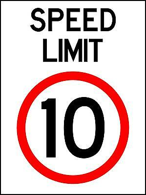 Speed Limit 10Km/h - 300 X 225Mm - Metal Sign - Safety Traffic  Sign