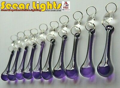 Purple Chandelier Crystals Orb Shape Glass Beads Drops Droplets Lamp Light Parts