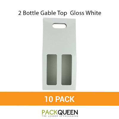10 x 2 Bottle Gable Top Gloss White (177 x 87 x 397mm) Wine Gift Boxes