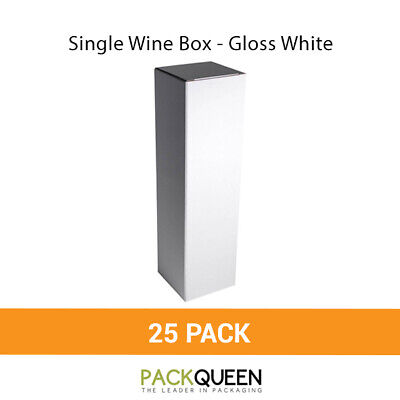 25 x Single Wine Box - Gloss White Wine & Party Favor Gift Boxes