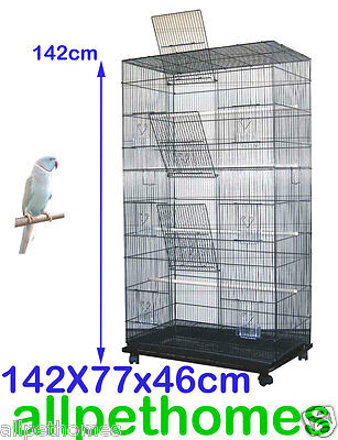 Large Stand-Alone Parrot Aviary Budgie Canary Bird Cage on Wheels TOWER