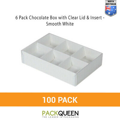 100 x  6 Pack Chocolate & Favour Box with Clear Lid & Insert Smooth White (124 x