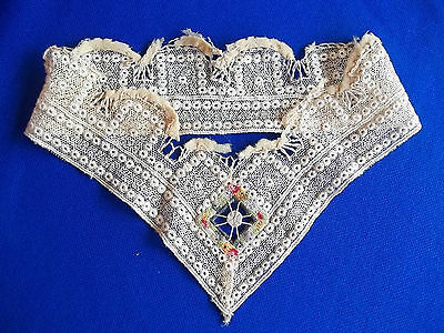 Victorian lace high collar Petite Point + Drawn work  center detail Salmon Beige