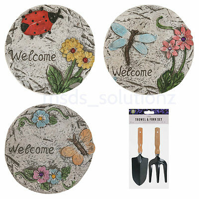 6 Pcs Decorative Gems Touch Round Garden Stepping Stones Paving Path Steps Set