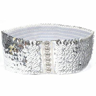 Ladies Fashion Sequins Elastic Stretch Shinning Waist Band Casual Belt