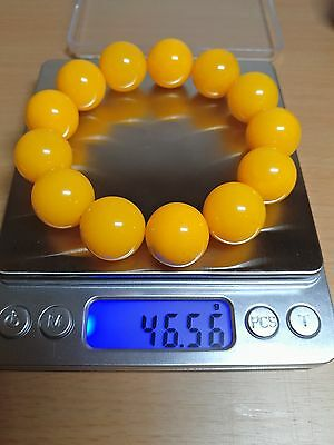 Baltic Amber bracelet, round beads 18mm 46.56grams butterscotch color AA18