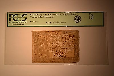 Virginia May 4, 1778 Printed Date $15 Thick Paper Fr. VA-151b. PCGS Fine 15.