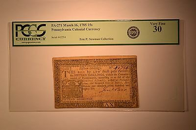 Pennsylvania March 16, 1785 15 Shillings Fr. PA-271. PCGS Very Fine 30.