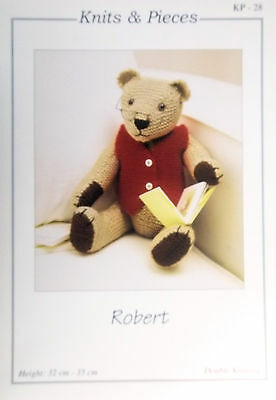 Knits and Peices DK Toy Knitting pattern Teddy Bear Robert approx 32cm kp-28