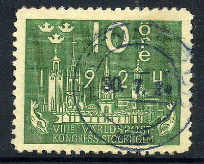 SWEDEN 1924 UPU Congress 10 öre with letters watermark used