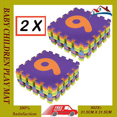 2X 0-9 Number10Pcs Large Baby Children Play Mat Soft Foam Jigsaw Learning Puzzle