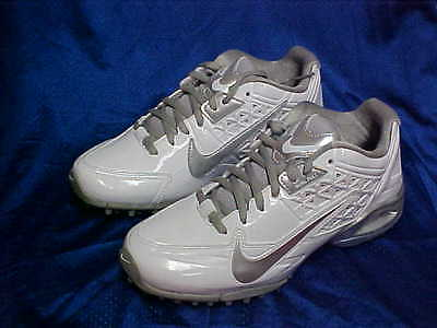 Nike Womens Air Speedlax 4 Turf Lacrosse/Hockey Shoes White/Met Silver Size 7