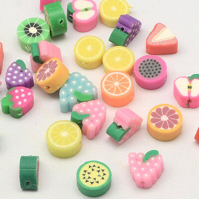 50 pcs Handmade Polymer Clay Fruit Theme Beads Mixed Colour Hole 2mm