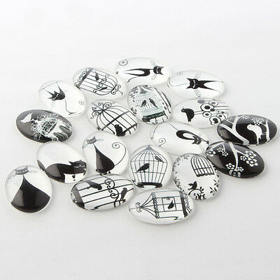 18mm x 25mm Black and White Glass Oval Flatback Cabochons Mixed Cat Bird x 10pcs