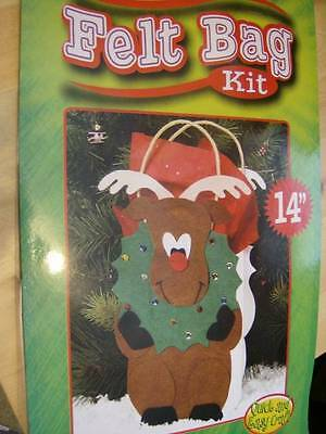 Rudolph Reindeer Felt Bag Kit 14 Inches, No Cutting, Bag Included