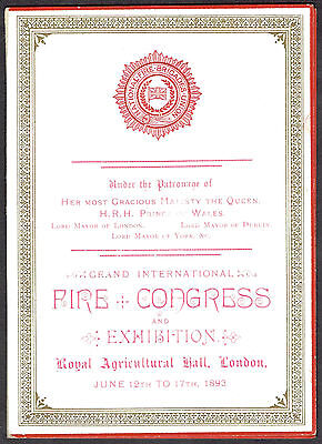 National Fire Brigades Union 1893 London Congress Exhibition Invite Ludlow Mayor
