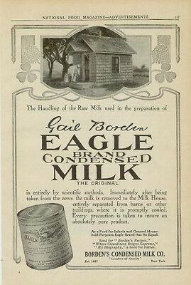 Advertising Gail Borden's Can of Eagle Brand Condensed Milk Cows & Farms B  1913