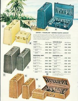 Catalog Page Ad Luggage Top Grain Leather Plastic Colors Empire #3 1956