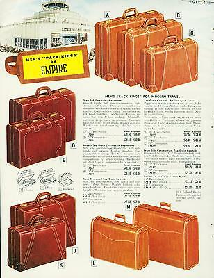 Catalog Page Ad Luggage Top Grain Leather Cowhide Rawhide Empire 1956