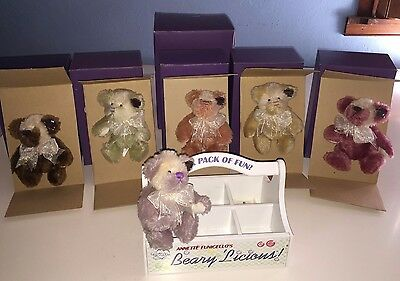 """Annette Funicello Collectable Bear Company """"Beary 'Licious"""" Collection of 6 Moha"""