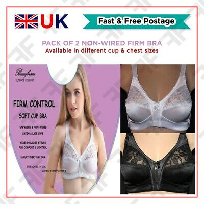 Pack of 2 Black & White Bra Underwear Firm Control Non Wired Soft Lace Cup Satin