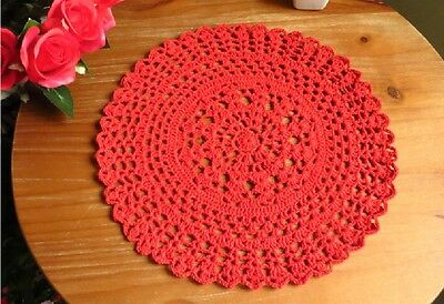 Pretty Hand Floral Crochet Cotton Red Doily Round Table Topper