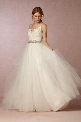 Straps Simple Beach Wedding Dress Lace Backless Bridal Gown Size 4 6 8 10 12 14+
