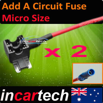 2 x Add A Circuit Fuse Tap Micro Size Blade Fuse Holder ATM APM 12v 24v Aus