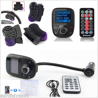 LCD Car Steering Wheel Control Wireless Bluetooth MP3 Player FM USB Charger Kit