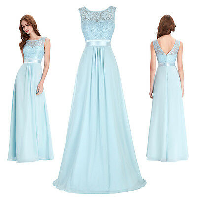 New Long Maxi Bridesmaid Formal Gown Ball Chiffon Lace Party Cocktail Prom Dress