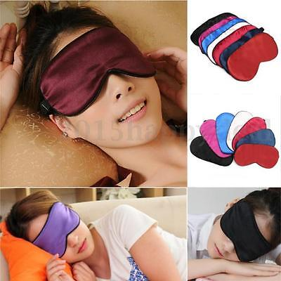 New Silk Filled Eye Mask Sleeping Blindfold Black Travel Eyeshade Cover Sleep