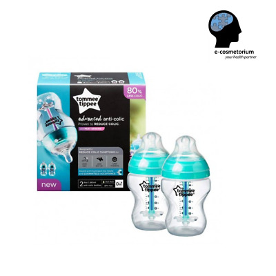 Tommee Tippee Closer to Nature Newborn 260ml (9 oz) 0m+ 2-pack Anti-colic Vented