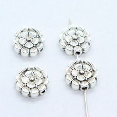 8/24pcs Tibetan Silver Flower Charm Round Spacer Beads DIY Jewelry Making