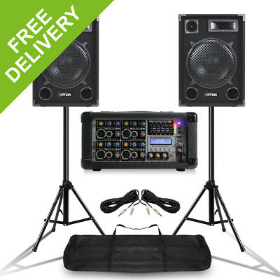 "MAX 12"" Mobile DJ Speakers  PA Amplifier Mixer Stands Band Disco Kit 1400W"