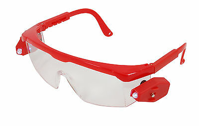Safety Glasses / Goggles with LED Lights and Spare Batteries