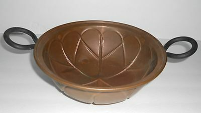 Antique Copper Pot Bowl Apple Butter w/Cast Iron Handles Large Handcrafted