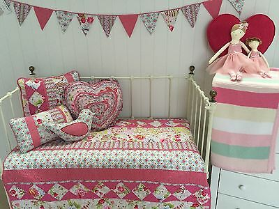 Stella 5 pce Girls Shabby Chic Crib Cot Quilt Set Cushions Baby Nursery Bedding