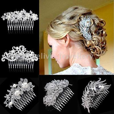 Sparkling Crystal Pearl Peacock Feather Leaf Flower Bridal Hair Combs Hairpin