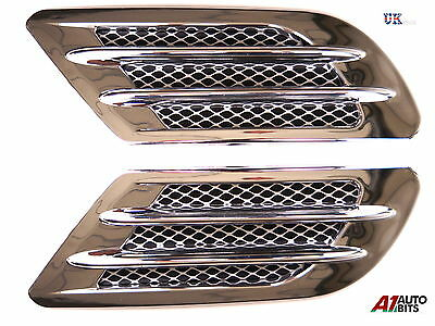 2 Side Wing Air Flow Intake Vent Trim Fender Grill Universal Chrome NEW