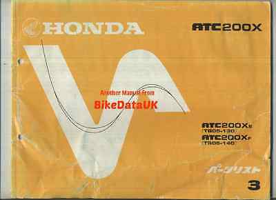 Genuine Honda ATC200X 1984-1985 Parts List Catalogue ATC 200 X TB05 ATV Trike