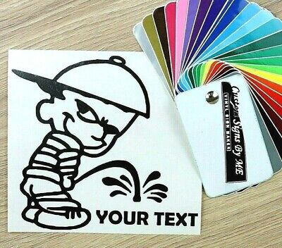 Funny Personalised Peeing Boy With Your Text Sticker Vinyl Decal Adhesive Black