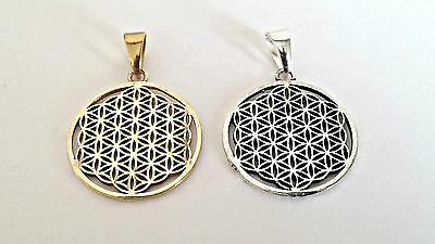 Sacred Geometry Flower of Life Brass Pendant-30mm Dia-Silver or Gold Coloured