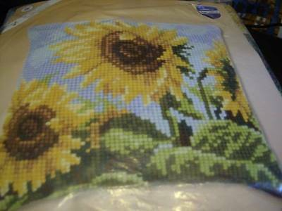 Sunflowers Quick Cross Stitch Pillow Kit 16x16 inches Vervaco