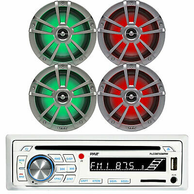 "Kenwood Stereo Bluetooth CD Player, 2 Pair Kicker 6.5"" LED Marine Boat Speaker"