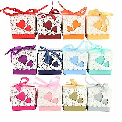 Heart Cube Favour Boxes with Ribbon! Wedding Sweet Party Favours