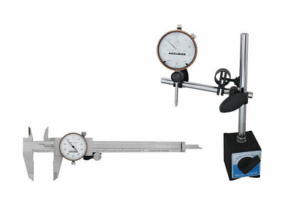 """0-1"""" Dial Indicator w/ a 60kg Magnetic Base plus a 6"""" Stainless Dial Caliper"""