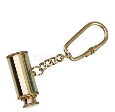 Antique Solid Brass Telescope Pendant Charm Carabiner Clip Key Chain Ring