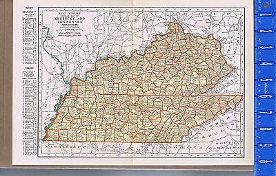 Kentucky Tennessee Vintage 1930s Color State Map With Principal