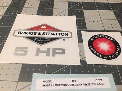 Briggs & Stratton 5-hp 1981-1986 Shroud Labels Decals set of 3 Magnetron
